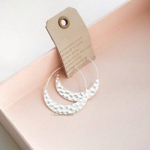 Anthropologie Hammered Crescent Hoops in Silver